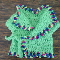 Green crochet cardigan pretty trim,tie front, premature baby, doll 1080  cjh39
