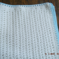 725 Baby Blanket, pretty white with blue edge nannycheyloriginals cjhS5