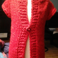 Red Chunky cap sleeve cardigan with tog 1059 cjh S17