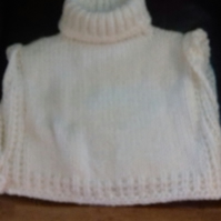 Chunky white pullover poncho design with cowl neck small baby   1056 cjh S17