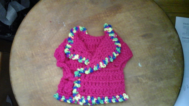 "HANDMADE CARDIGAN FOR PREMATURE  OR  'OUR GENERATION 18"" DOLL  1100 cjh S28"