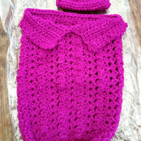 Handmade Papoose, Sleep-bag,  Premature, Baby, Doll, Cerise Sparkly 1183 cjh S47