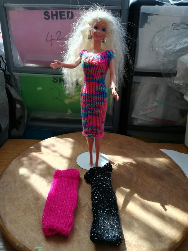 Barbie Doll clothes, Handmade, Pink, Black, Sparkly, Mulicolour, 1410 cjh S21