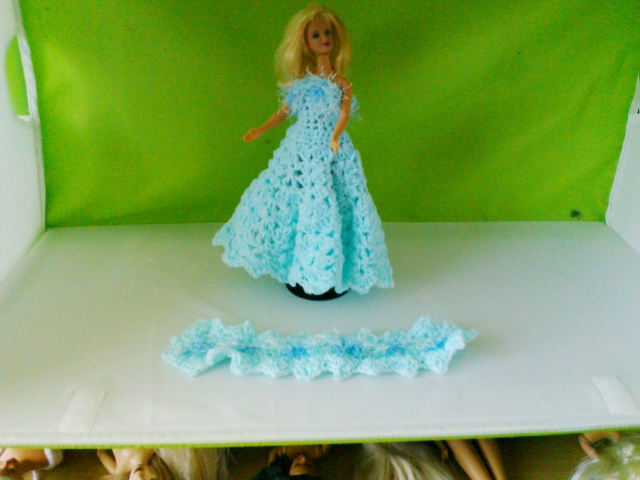Crochet Ballgown Dress, Stole, Handmade,  831 cjh S34