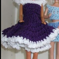 Swing dress for Barbie Doll, handmade, purple, crochet,  1098 cjh S55