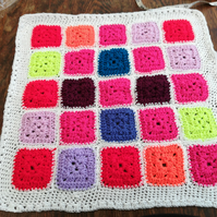 Premature, Baby, Blanket, Crochet, Multi colour, white border  1215 cjh S58