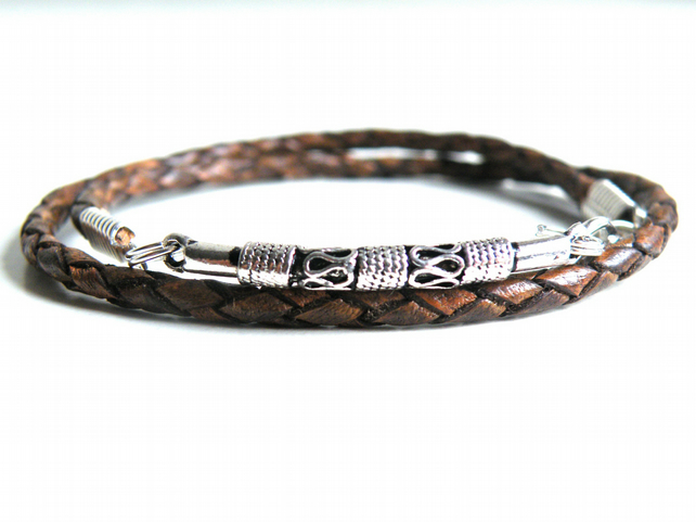 Braided Leather Wrap Bracelet brown silver plated