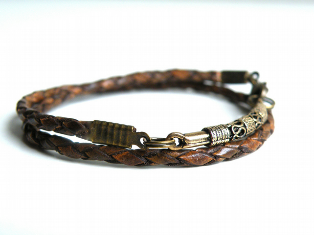 Braided Leather Wrap Bracelet brown antique gold plated