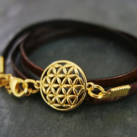 leather bracelet - flower of life gold plated