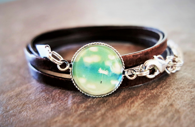 Leather wrap bracelet - floating dandelion seeds