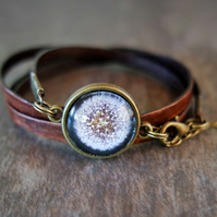 Leather wrap bracelet - Dandelion black