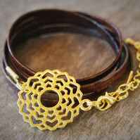 leather bracelet - flower hearts gold plate