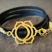 leather bracelet - sun and moon Chakra gold plate