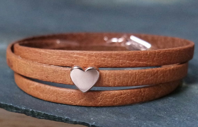 Leather wrap bracelet - Heart slider brown rose gold