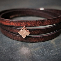 Leather wrap bracelet - Flower slider dark brown rose gold