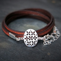 leather bracelet - flower of life oval silver plated