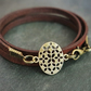 leather bracelet - flower of life oval bronze coloured