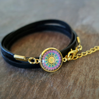Leather wrap bracelet - Mandala purple gold