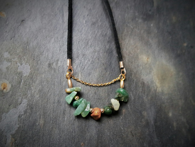 Necklace - Agate green gold