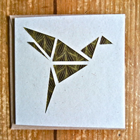 Card with origami style bird gold brown
