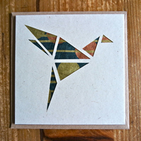 Card with origami style bird gold copper black