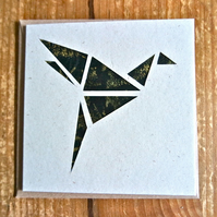 Card with origami style bird gold black