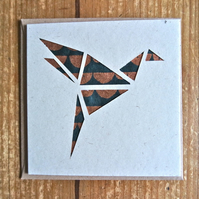Card with origami style bird copper black