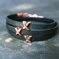 Leather wrap bracelet - X slider black rose gold