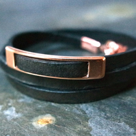 Leather wrap bracelet - rectangular slider black rose gold