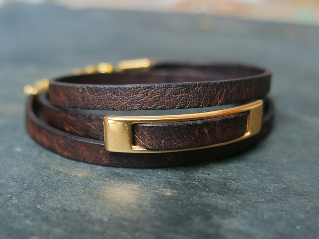 Leather wrap bracelet - rectangular slider brown gold