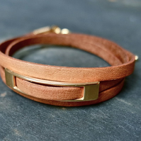 Leather wrap bracelet - rectangular slider tan gold