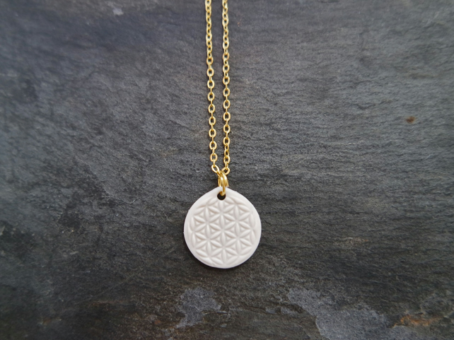 Necklace Flower of Life white gold plate