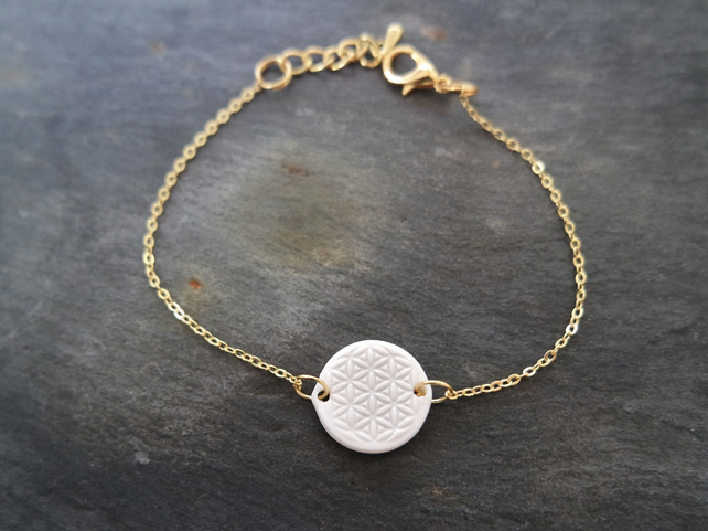 Bracelet Flower of Life white gold plate