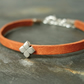 Leather bracelet - Flower tan beige silver