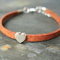 Leather bracelet - Heart tan beige silver