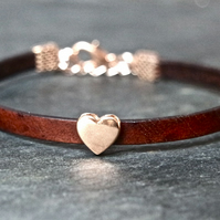 Leather bracelet - Heart dark brown rose gold