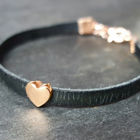 Leather bracelet - Heart black rose gold