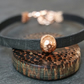 Leather bracelet - hammered bead black rose gold
