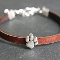 Leather bracelet - dog paw dark brown silver
