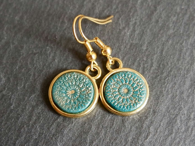Earrings - Mandala gold turquoise