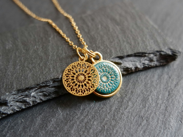 Necklace - Mandala gold turquoise