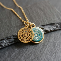 Necklace - Mandala gold turquoise Vermeil 925 Silver gold plate