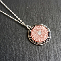 Necklace - Mandala large rose pink metallic silver-plated
