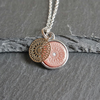 Necklace - Mandala silver rose pink silver