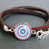 Mandala leather wrap bracelet - blue violet pink
