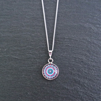 Necklace - Sterling Silver Mandala silver rose violet blue