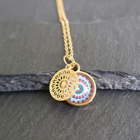 Necklace - Mandala gold rose violet blue