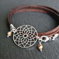 dreamcatcher leather wrap bracelet - brown jasper