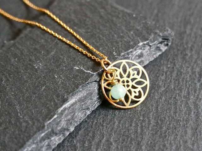 Vermeil Sterling Silver Flower Mandala Necklace - turquoise