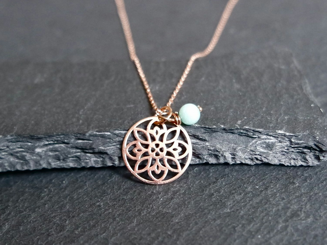 Vermeil 925 Sterling SilverFlower Mandala Necklace - Rose Gold Plated